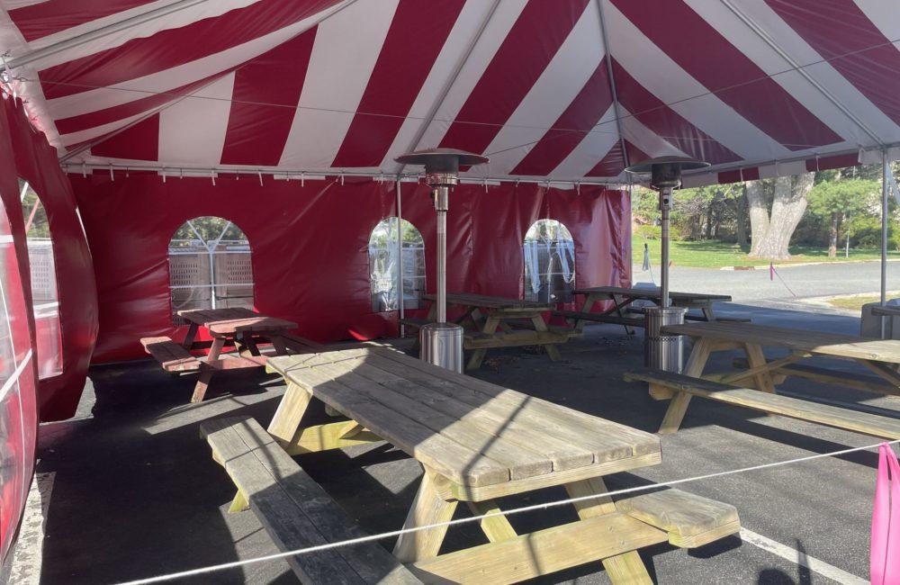 outdoor tent interior view